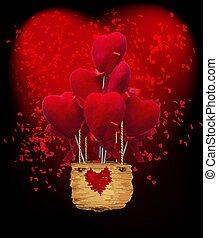 air balloon with heart shaped lights on dark background