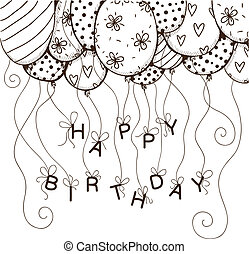 Air balloons border with text for birthday party.