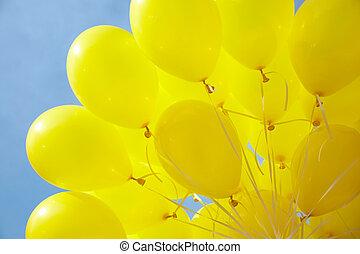 air-balloons, fäst, till, sträng