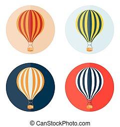 air balloons flat design icons set