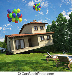 air balloons flying house - surreal scene of a house lifted...