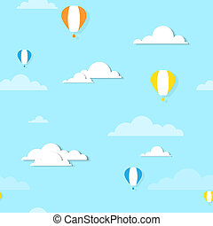 air balloons in the clouds - seamless illustration