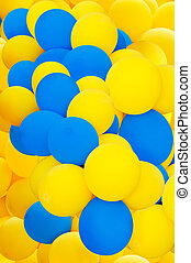 Air balloons of yellow and blue color