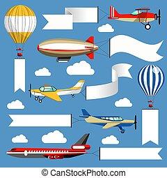 Air banners plane and air balloon corn duster and airship