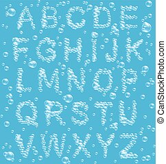 Air Bubbles Alphabet on Blue