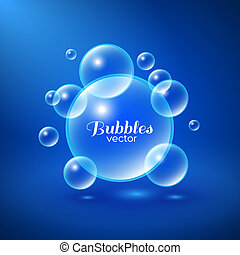 Air bubbles underwater background. Abstract vector illustration
