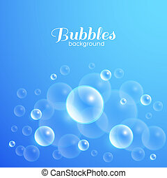 Air bubbles underwater. Blue abstract vector background