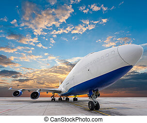 air cargo freighter with nice sky