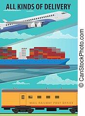 Air cargo, marine shipping, rail freight transport
