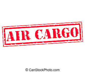 AIR CARGO RED Stamp Text on white backgroud