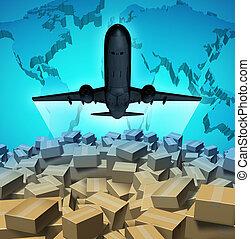 Air Cargo - Air cargo shipping concept with an airplane...