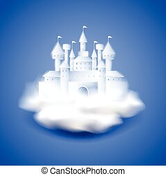 Air castle on blue vector background