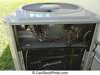 air, chaleur, climatiseur, pompe, réparation