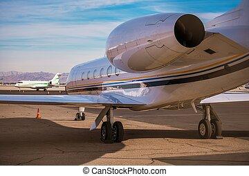 Air Charter Jet Airplane. Airport Area. Modern Air...