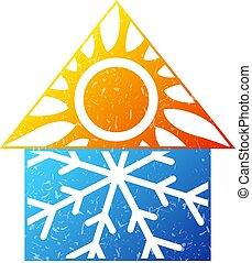 air, chaud, conditionnement, frais, symbole, maison