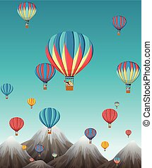 air chaud, moutains, sur, balloon