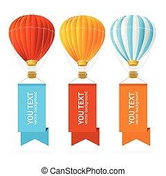 air, chaud, vecteur, balloon, banner.