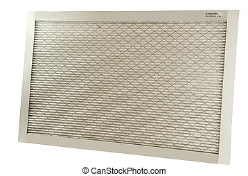 air cleaning filter for furnace on a white background