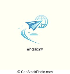 air company modern paper plane logo Template. vector. on white background. transportation
