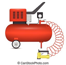 Air compressor and big stapler isolated on white background.
