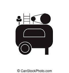 Air compressor black vector concept icon. Air compressor flat illustration, sign