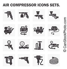 Air compressor icons sets.