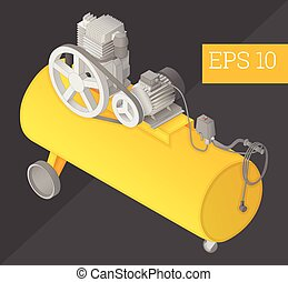 air compressor isometric vector illustration