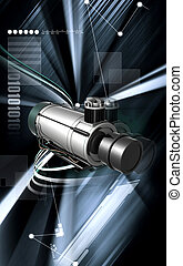 Air compressor - Digital illustration of air compressor in...
