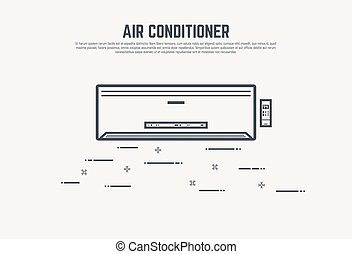 Air condition concept - Air condition flat style thin line...