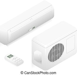 Air conditioner. 3d vector home summer conditioning system