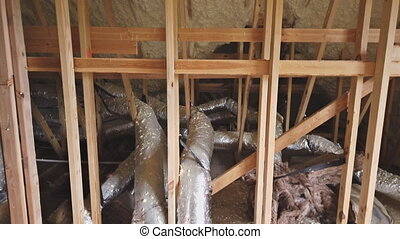 Air conditioner and heating system in installation system on...