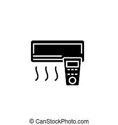 Air conditioner black icon concept. Air conditioner flat  vector symbol, sign, illustration.
