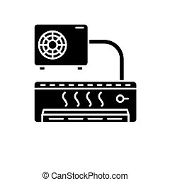 Air conditioner black icon, vector sign on isolated background. Air conditioner concept symbol, illustration