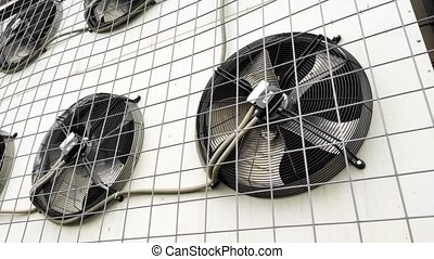 Air conditioner blades rotation close up. - Air conditioner...