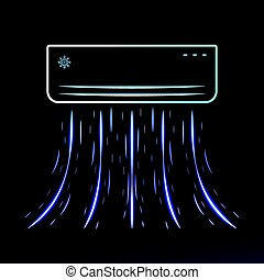 Air conditioner blows ice cool air, Vector illustration.