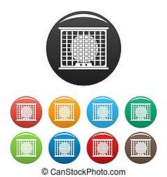 Air conditioner compressor icons set color - Air conditioner...