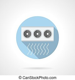 Air conditioner compressor round flat vector icon - Air...