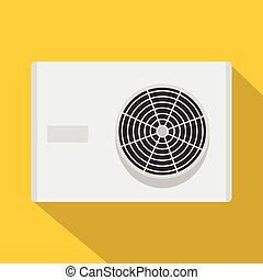 Air conditioner compressor unit icon, flat style