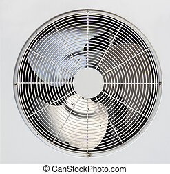 Air conditioner condenser fan. - Condenser fan air through...