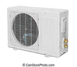 Air conditioner condenser unit isolated on white