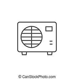 Air conditioner external block line icon isolated on white. Vector illustration