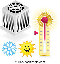 set of heating and cooling themed items.