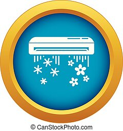 Air conditioner icon blue vector isolated