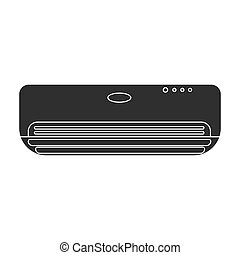 Air conditioner icon in black style isolated on white background. Hotel symbol stock vector illustration.