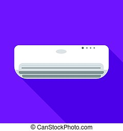 Air conditioner icon in flat style isolated on white background. Hotel symbol stock vector illustration.
