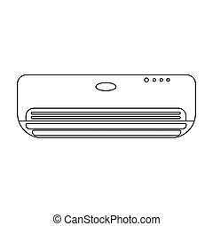 Air conditioner icon in outline style isolated on white background. Hotel symbol stock vector illustration.