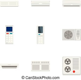Air conditioner icon set, flat style - Air conditioner icon...