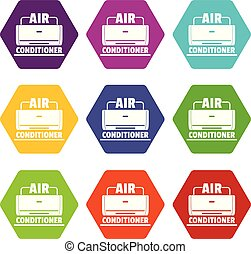Air conditioner icons set 9 vector