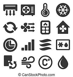 Air Conditioner Icons Set on White Background. Vector