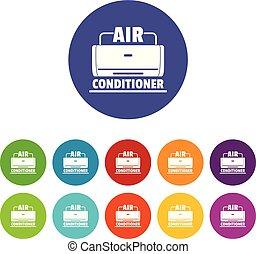 Air conditioner icons set vector color